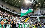 Stockholm 2015-07-13 Fotboll Allsvenskan Hammarby IF - Falkenbergs FF :  <br /> Hammarbys supportrar med flaggor under matchen mellan Hammarby IF och Falkenbergs FF <br /> (Foto: Kenta J&ouml;nsson) Nyckelord:  Fotboll Allsvenskan Tele2 Arena Hammarby HIF Bajen Falkenberg FFF supporter fans publik supporters