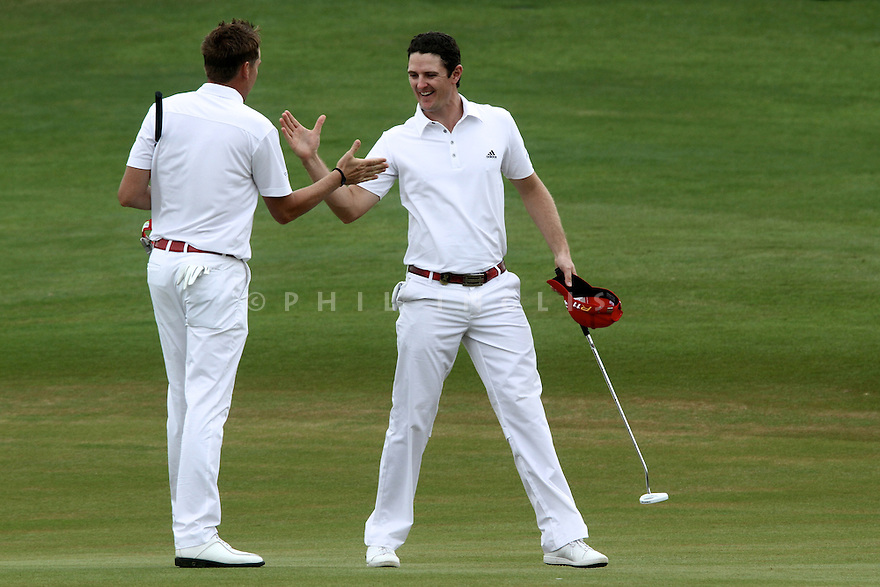 Justin Rose and Ian Poulter of England in action during the final round of the Omega Mission Hills World Cup played at The Blackstone Course, Mission Hills Golf Club on November 27th in Haikou, Hainan Island, China.( Picture Credit / Phil Inglis )