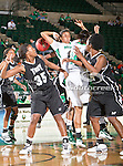 North Texas Mean Green forward Ash'Lynne Evans (1) and Troy Trojans forward Kourtney Coleman (35) in action during the game between the Troy Trojans and the University of North Texas Mean Green at the North Texas Coliseum,the Super Pit, in Denton, Texas. UNT defeats Troy 57 to 36.....