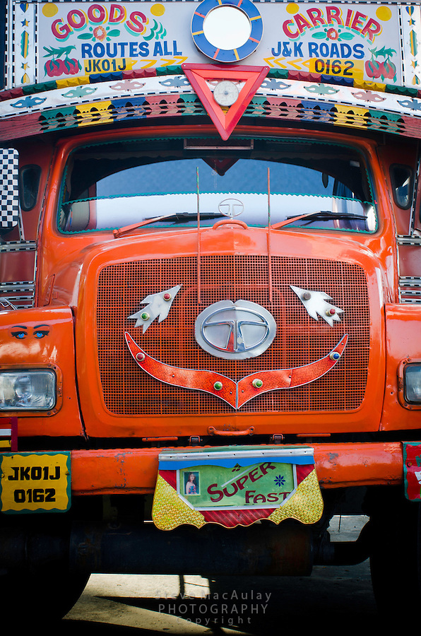 Colorfully painted and decorated front end of goods carrier truck, Srinagar - Leh road, Kashmir, India.