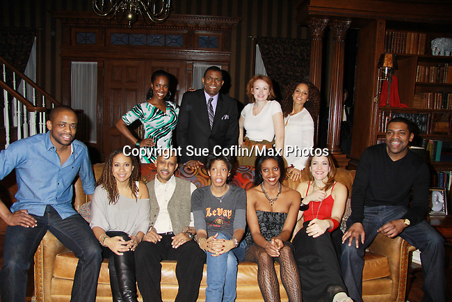 Producer Alicia Keys back right and cast Broadway's Stick Fly  - Left to right - Dulle Hill, Tracie Thoms, Ruben Santiago-Hudson, Lydia L. Diamond (author), Condola Raschad, Rosie Benton, Mekhi Phifer and rest of cast at the Cort Theatre, New York City, New York with after party at 48 Lounge with Alicia Keys and cast - Ruben Santiago-Hudson along with Tracie Thoms, Dulle Hill (Psych), Mekhi Phifer. (Photo by Sue Coflin/Max Photos)