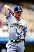 Geoff Jenkins of the Milwaukee Brewers participates in a Major League Baseball game at Dodger Stadium during the 1998 season in Los Angeles, California. (Larry Goren/Four Seam Images)