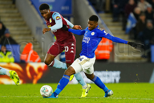 8th January 2020; King Power Stadium, Leicester, Midlands, England; English Football League Cup Football, Carabao Cup, Leicester City versus Aston Villa; Kelechi Iheanacho of Leicester City beats Kortney Hause of Aston Villa - Strictly Editorial Use Only. No use with unauthorized audio, video, data, fixture lists, club/league logos or 'live' services. Online in-match use limited to 120 images, no video emulation. No use in betting, games or single club/league/player publications