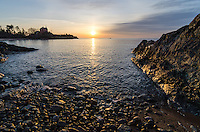 An early morning view of the Lake Superior shoreline and the Marquette Harbor Lighthouse, Marquette, MI
