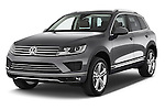 2017 Volkswagen Touareg Executive 5 Door SUV Angular Front stock photos of front three quarter view