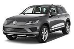 2017 Volkswagen Touareg Executive 5 Door SUV Angular Front stock photos of front three quarter view