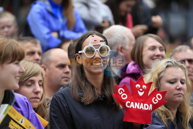 Fancy eyewear in the crowd at sign on before the start of Stage 1 of the 2014 Tour de France running 190.5km from Leeds to Harrogate. 5th July 2014.<br /> Picture: Eoin Clarke www.newsfile.ie