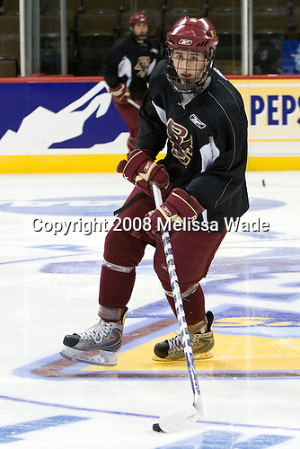 Tim Kunes (BC 6) - The Boston College Eagles practiced on Friday, April 11, 2008, at the Pepsi Center in Denver, Colorado, in preparation for the 2008 Frozen Four Final (NCAA D1 national hockey championship game) being played the following day.  Boston College had made the Final for the third year in a row.