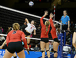 SIOUX FALLS, SD - DECEMBER 8: Alexandra Preuss #2 from Lewis winds up for a kill attempt past Haley Kindall #6  from Wheeling Jesuit during their quarterfinal match at the 2016 Women's Division II Volleyball Championship at the Sanford Pentagon in Sioux Falls, SD. (Photo by Dave Eggen/Inertia)