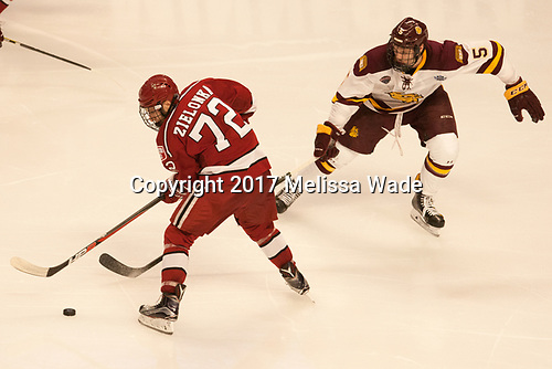 Phil Zielonka (Harvard - 72), Nick Wolff (UMD - 5) - The University of Minnesota Duluth Bulldogs defeated the Harvard University Crimson 2-1 in their Frozen Four semi-final on April 6, 2017, at the United Center in Chicago, Illinois.