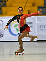 BOGOTÁ - COLOMBIA, 04-09-2018: Ailen de Luca, deportista de Argentina, durante prueba de Programa Corto, Juvenil Damas en Linea, en el Campeonato Panamericano Patinaje Artístico, en el Coliseo El Salitre de la Ciudad de Bogotá. / Ailen de Luca, sportwoman from Argentina, during the Short Program Junior Ladies test, in the Panamerican Figure Skating Championship the El salitre Coliseum in Bogota City. Photo: VizzorImage / Luis Ramirez / Staff.