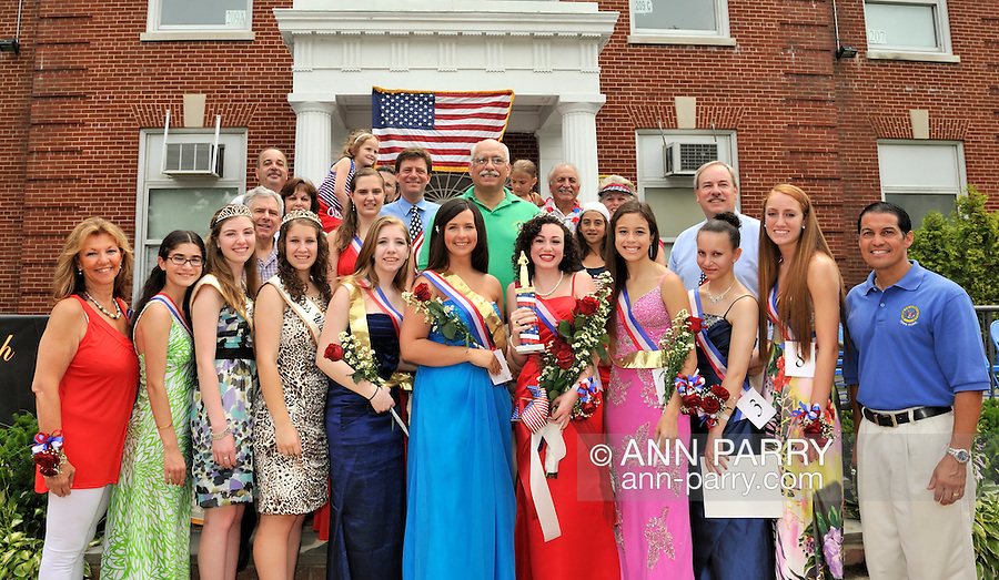 Kara Arena, winner of Miss Wantagh Pageant, and 1st Runner Up Shannon Dempsey (front center in blue), and fellow contestants and pageant and town officials, including Legislator Dave Denenberg (top center in blue); Legislator Dennis Dunne, Sr. (top center in green); and Hempstead Town Clerk Mark Bonilla (front extreme right) at July 4th celebration in front of Wantagh High School, New York, 2011