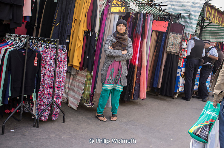 Market trader in Whitechapel London which has the largest UK Muslim community