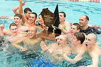 Madison West swimmers and coaches celebrate their 2018 Division 1 Wisconsin state swimming and diving championship victory at the UW Natatorium on Saturday, 2/17/18 in Madison, Wisconsin