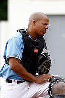 14 July 2011: Catcher Ernesto Martinez of Senart Templiers is seen during the 2011 Challenge de France match won 12-9 by the Senart Templiers over Pessac Pantheres, at Stade Pierre Rolland, in Rouen, France.