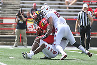 College Park, MD - September 15, 2018: Temple Owls defensive end Jimmy Hogan (98) sacks Maryland Terrapins quarterback Kasim Hill (11) during the game between Temple and Maryland at  Capital One Field at Maryland Stadium in College Park, MD.  (Photo by Elliott Brown/Media Images International)