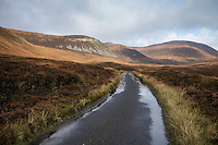 Single lane road through the isolated Rackwick Bay, Hoy, Orkney, Scotland