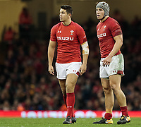 Wales' Jonathan Davies with team-mate Owen Watkin<br /> <br /> Photographer Simon King/CameraSport<br /> <br /> International Rugby Union - 2017 Under Armour Series Autumn Internationals - Wales v Australia - Saturday 11th November 2017 - Principality Stadium - Cardiff<br /> <br /> World Copyright &copy; 2017 CameraSport. All rights reserved. 43 Linden Ave. Countesthorpe. Leicester. England. LE8 5PG - Tel: +44 (0) 116 277 4147 - admin@camerasport.com - www.camerasport.com