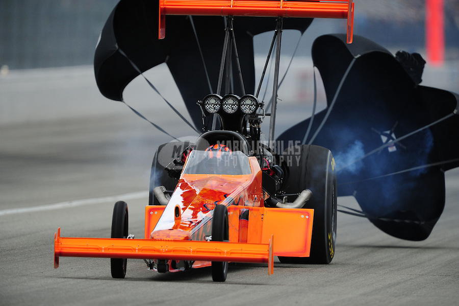 Nov. 12, 2011; Pomona, CA, USA; NHRA top fuel dragster driver Mike Salinas during qualifying at the Auto Club Finals at Auto Club Raceway at Pomona. Mandatory Credit: Mark J. Rebilas-.
