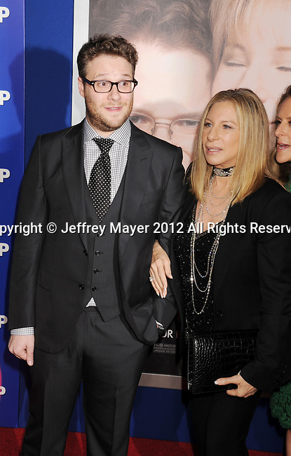 WESTWOOD, CA - DECEMBER 11: Seth Rogen and Barbra Streisand arrive at the 'The Guilt Trip' - Los Angeles Premiere at Regency Village Theatre on December 11, 2012 in Westwood, California.