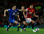Leighton Baines of Everton in action with Jesse Lingered of Manchester United during the English Premier League match at Old Trafford Stadium, Manchester. Picture date: April 4th 2017. Pic credit should read: Simon Bellis/Sportimage