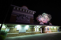 Fireworks after the Batavia Muckdogs game against the Mahoning Valley Scrappers on July 3, 2015 at Dwyer Stadium in Batavia, New York.  Batavia defeated Mahoning Valley 7-4.  (Mike Janes/Four Seam Images)