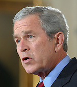 United States President George W. Bush calls on Congress to pass an Iraq War spending bill with no timetable for withdrawal in the East Room of the White House in Washington, D.C. on April 16, 2007.   <br /> Credit: Roger L. Wollenberg / Pool via CNP