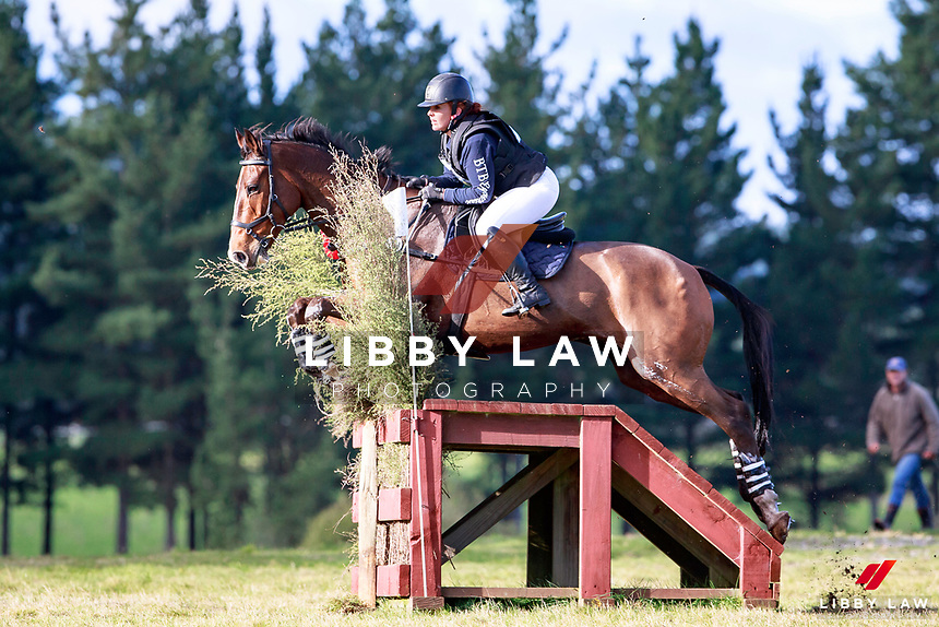 Jordie Watson rides Meersbrook Viva La Vida to keep the lead during the AMS Saddlery CCI1* Open Cross Country at the 2017 NZL-NRM National Three Day Event Championships. National Equestrian Center, Taupo. Saturday 13 May. Copyright Photo: Libby Law Photography
