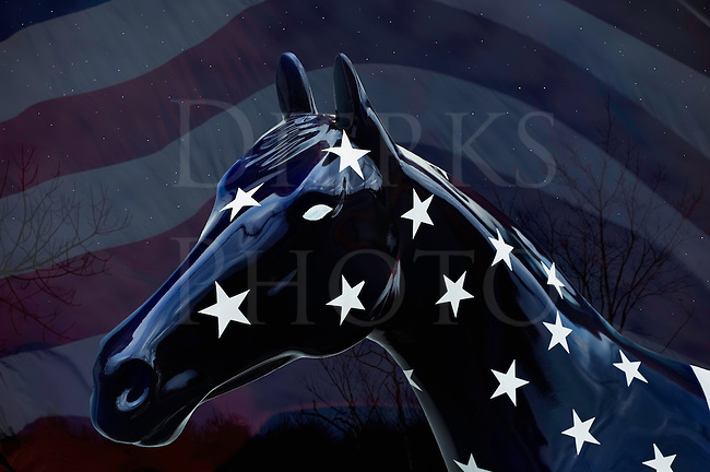 Blue horse in white stars at night against an American flag background, a red, white, and blue patriotic portrait for the USA.