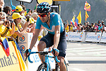 Mikel Landa (ESP) Movistar Team crosses the finish line in 6th place atop the Col du Tourmalet at the end of Stage 14 of the 2019 Tour de France running 117.5km from Tarbes to Tourmalet Bareges, France. 20th July 2019.<br /> Picture: Colin Flockton | Cyclefile<br /> All photos usage must carry mandatory copyright credit (© Cyclefile | Colin Flockton)