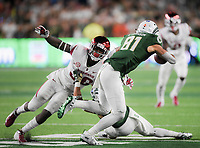 NWA Democrat-Gazette/CHARLIE KAIJO Arkansas Razorbacks linebacker D'Vone McClure (36) reaches to tackle Colorado State Rams wide receiver Olabisi Johnson (81) during the fourth quarter of a football game, Saturday, September 8, 2018 at Colorado State University in Fort Collins, Colo.
