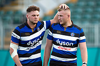 Jack Davies and Will Britton of Bath United after the match. Aviva A-League match, between Bath United and Saracens Storm on September 1, 2017 at the Recreation Ground in Bath, England. Photo by: Patrick Khachfe / Onside Images