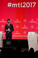 Elections Montréal 2017 : debat francophone a la Chambre de commerce du Montreal métropolitain, jeudi le 19 octobre 2017<br /> <br /> <br /> Anime par Francois Cardinal, editorialiste en chef et directeur de la section Debats du quotidien La Presse, le debat reuni  les principaux candidats à la mairie de Montreal : Denis Coderre  ainsi que Valerie Plante, cheffe de Projet Montreal. <br /> <br /> <br /> PHOTO :  <br />  -  Agence quebec Presse