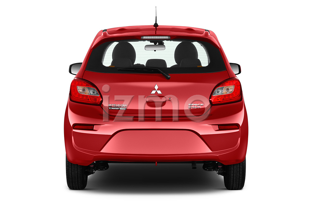 Straight rear view of 2019 Mitsubishi Spacestar Invite 5 Door Hatchback Rear View  stock images