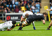 1st October 2017, Ricoh Arena, Coventry, England; Aviva Premiership rugby, Wasps versus Bath Rugby;  Rob Miller (Wasps) is tackled by Charlie Ewels (Bath)