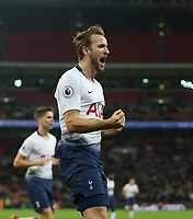 Tottenham Hotspur's Harry Kane celebrates scoring his side's first goal <br /> <br /> Photographer Rob Newell/CameraSport<br /> <br /> The Premier League - Tottenham Hotspur v Southampton - Wednesday 5th December 2018 - Wembley Stadium - London<br /> <br /> World Copyright &copy; 2018 CameraSport. All rights reserved. 43 Linden Ave. Countesthorpe. Leicester. England. LE8 5PG - Tel: +44 (0) 116 277 4147 - admin@camerasport.com - www.camerasport.com