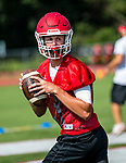 Wolcott, CT- 21 August 2017-082117CM04- Wolcott quarterback Mike Polzella runs through practice drills in Wolcott on Monday.    Christopher Massa Republican-American