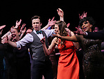 Harriet Harris, Gavin Creel, Sutton Foster, Sheryl Lee Ralph during the curtain Call bows for the Actors Fund's 15th Anniversary Reunion Concert of 'Thoroughly Modern Millie' on February 18, 2018 at the Minskoff Theatre in New York City.