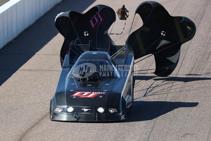 Feb 23, 2019; Chandler, AZ, USA; NHRA funny car driver Terry Haddock during qualifying for the Arizona Nationals at Wild Horse Pass Motorsports Park. Mandatory Credit: Mark J. Rebilas-USA TODAY Sports