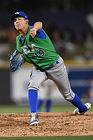 Pitcher Garrett Davila (19) of the Lexington Legends delivers a pitch in a game against the Columbia Fireflies on Saturday, April 22, 2017, at Spirit Communications Park in Columbia, South Carolina. Lexington won, 4-0. (Tom Priddy/Four Seam Images)