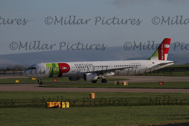 A TAP Portugal Airbus A321-211 Registration CS-TJE taxying having landed from Lisbon Portela Airport at Manchester Airport on 14.2.16.