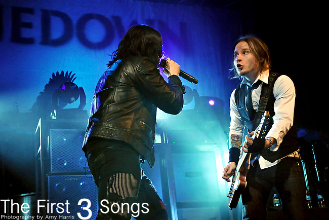 Brent Smith, left, and Zach Myers of Shinedown perform at Northern Kentucky University on December 6, 2009.