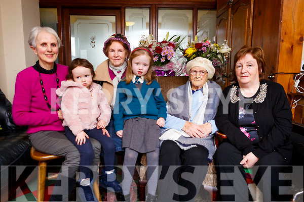 The Stack family celebrating Catherine&rsquo;s 102nd birthday.<br /> Seated l-r, Ann Stack, Fia Stack, Philomena Herne (Daughter), Zoe Stack, Catherine Stack and  Catherine O&rsquo;Shea (Daughter).