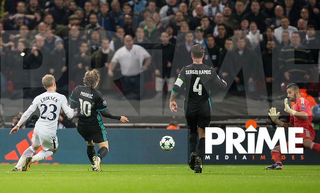 Christian Eriksen of Spurs scores his goal to make it 3 0 during the UEFA Champions League group match between Tottenham Hotspur and Real Madrid at Wembley Stadium, London, England on 1 November 2017. Photo by Andy Rowland.