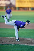Grand Junction Rockies starting pitcher Ryan Feltner (28) delivers a pitch during a game against the Ogden Raptors at Lindquist Field on September 7, 2018 in Ogden, Utah. The Rockies defeated the Raptors 8-5. (Stephen Smith/Four Seam Images)