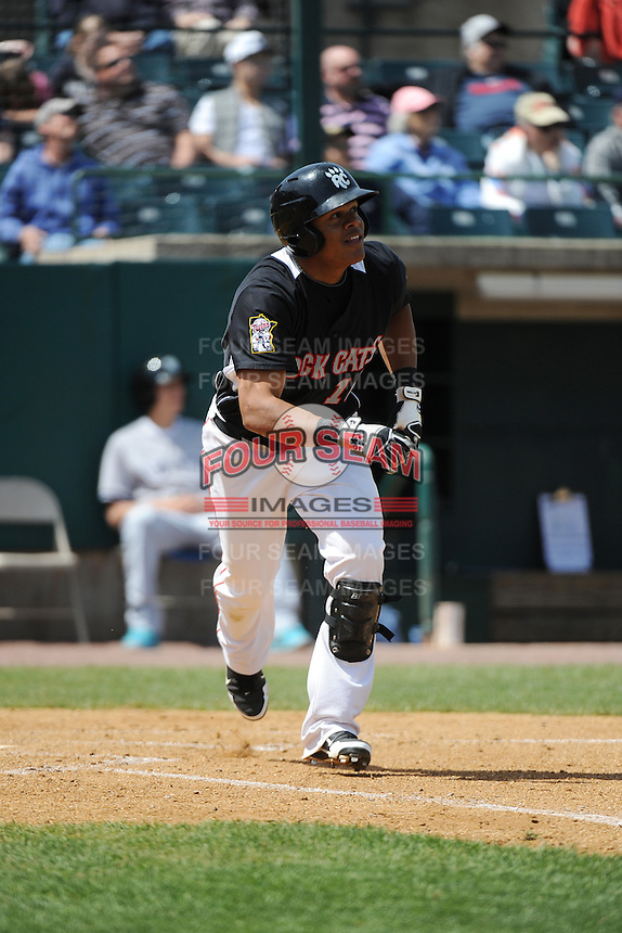 New Britain Rock Cats outfielder Reynaldo Rodriguez (16) during game against the Trenton Thunder at New Britain Stadium on May 7 2014 in New Britain, CT.  Trenton defeated New Britain 6-4.  (Tomasso DeRosa/Four Seam Images)