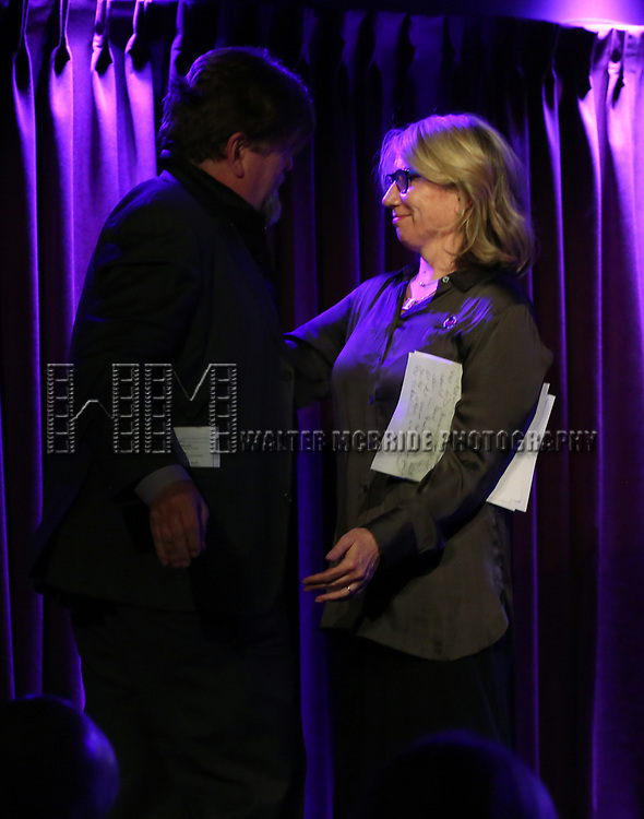 Oskar Eustis and Laura Penn on stage during the Second Annual SDCF Awards, A celebration of Excellence in Directing and Choreography, at the Green Room 42 on November 11, 2018 in New York City.