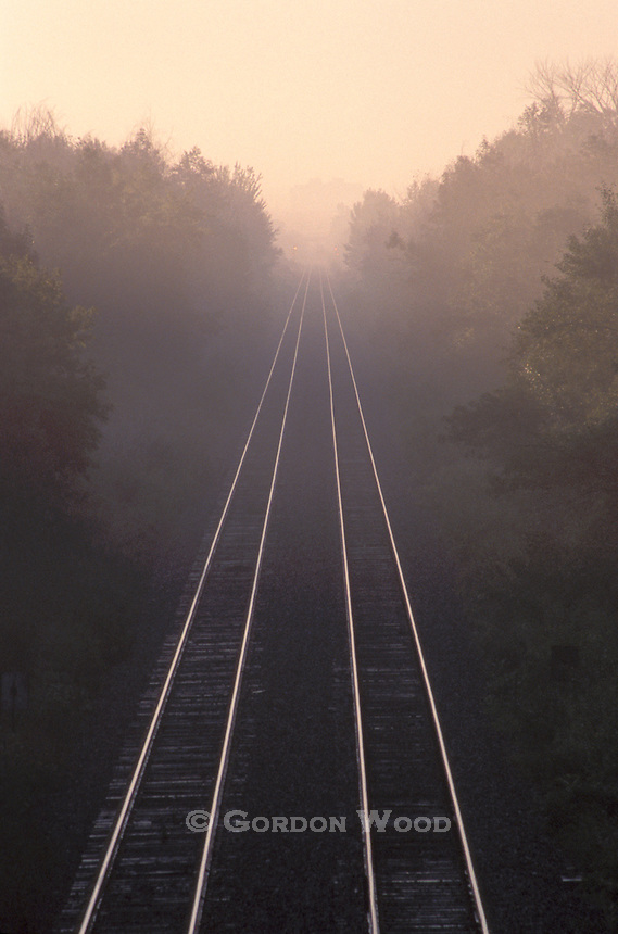 Railway Lines in Morning Mist