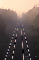 Railway Lines in Morning Mist