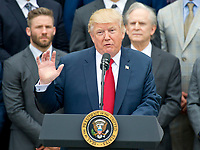 United States President Donald J. Trump makes remarks welcoming the Super Bowl Champion New England Patriots to the South Lawn of White House in Washington, DC on Wednesday, April 19, 2917.<br /> Credit: Ron Sachs / CNP/MediaPunch<br /> <br /> (RESTRICTION: NO New York or New Jersey Newspapers or newspapers within a 75 mile radius of New York City)